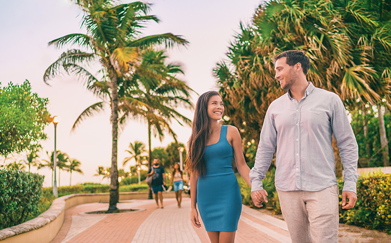 Take a romantic walk along the sidewalks of Miami and watch the sun go down.