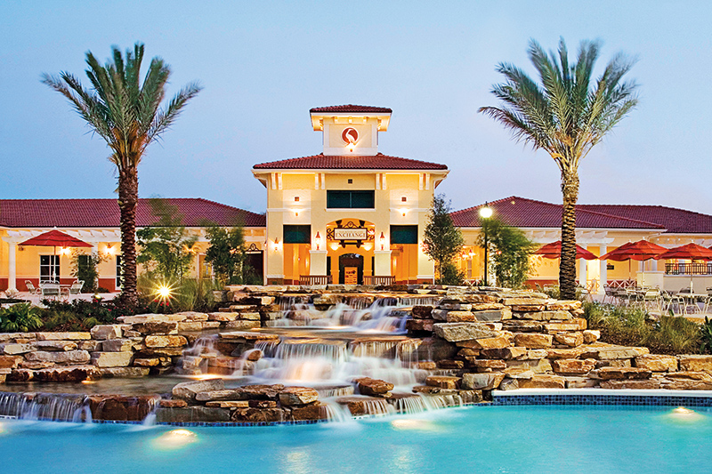 Orange Lake (8896) resort boasts seven pools, a lazy river, an 80-acre lake with beach and water sports, four golf courses, seven restaurants, two mini golf courses, and more.