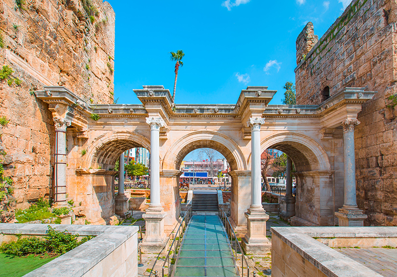 Hadrian's Gate was built for the Roman Emperor Hadrian who visited Antalya in 130 AD. As you walk through the main central arch you can view the original Roman pathway which is encased in perspex so visitors can enjoy this historical site for years to come.