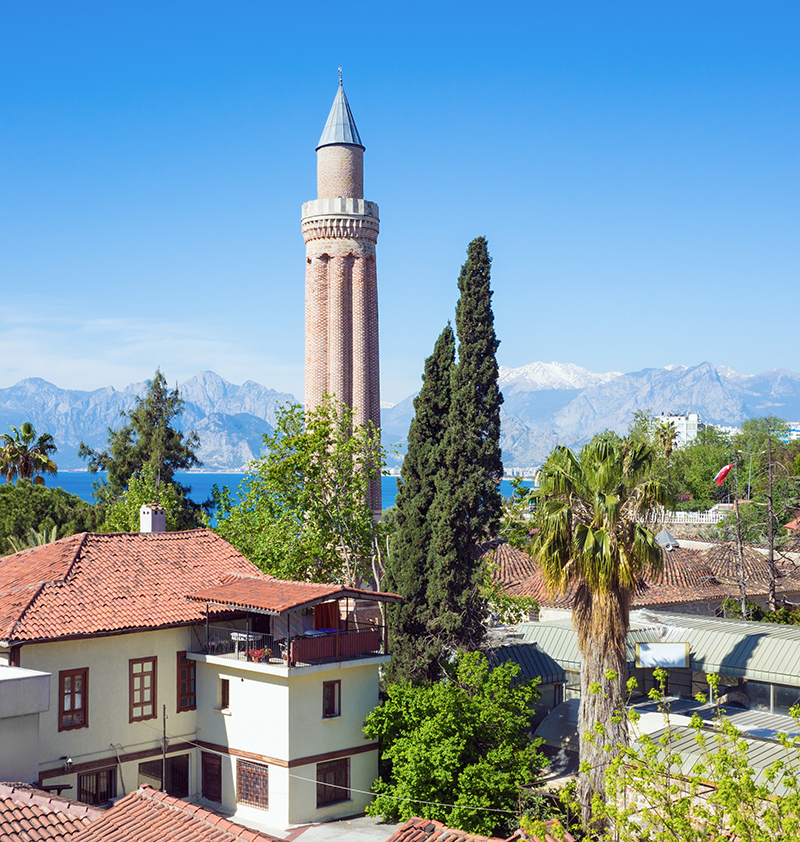 Yivli Minare Mosque was built in the 13th-century in the old town of Antalya, and after a number of updates throughout the centuries, it now boasts six domes and a 38-metre high minaret tower.