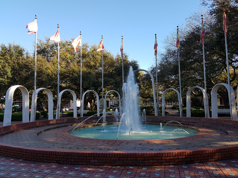 The Friendship Fountain is a highlight of the Spanish Plaza Park - a spectacular structure to gaze at.