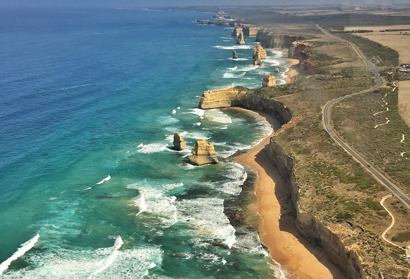 A helicopter ride in Victoria, Australia, to witness  the Twelve Apostles - which are actually down to just eight - is a spectacular way to see them in all their glory.
