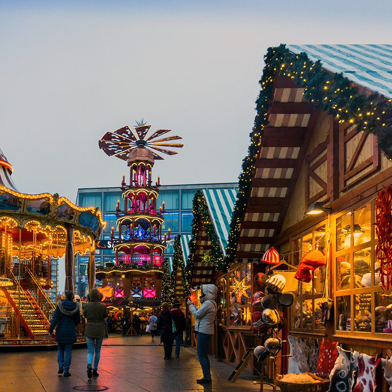 Berlin hosts close to 100 Christmas markets each year, so a festive break in this interesting city will provide lots of market choices.