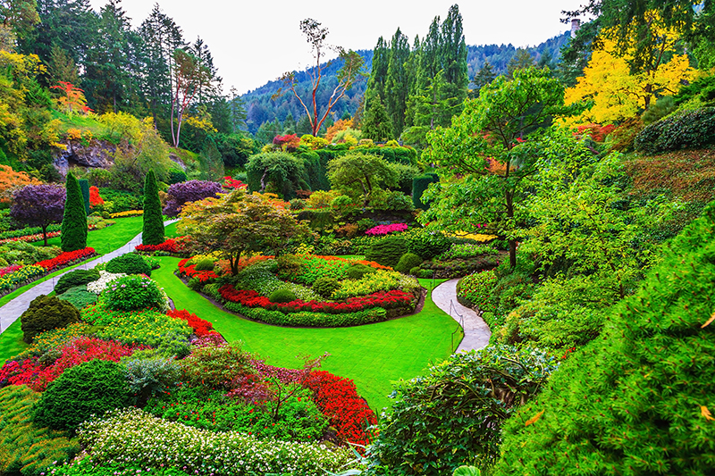 Butchart Gardens on Vancouver Island, Canada, sprang to life in 1909, on the site of an old exhausted quarry owned by the Butchart family who made their money from cement production. It was finnished in 1921.