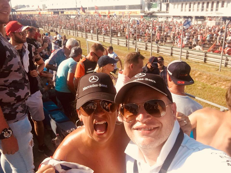 Kara and Kane had prime seats for the race on the pit straight, where they enjoyed watching Lewis Hamilton lead the race, from start to finish.
