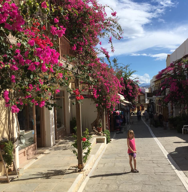 Eve, Deryn's daughter, enjoyed exploring the ancient and pretty streets of Platanes on the historic island of Crete.