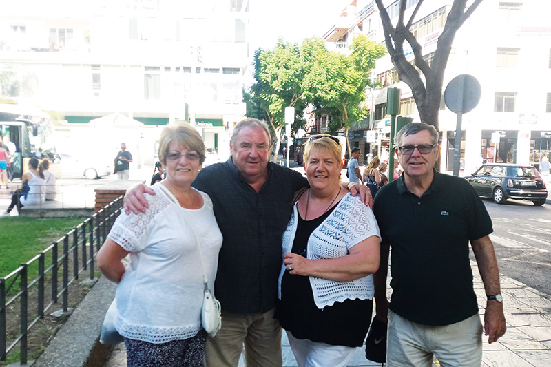 Margaret gifted a holiday to her cousin, Dale, who is pictured here with her husband, Gilmour, and brother-in-law, John, who were all reunited after many years during a holiday in Fuengirola which Dale and Gilmour went on by using Margaret's gift of an RCI Guest Certificate.