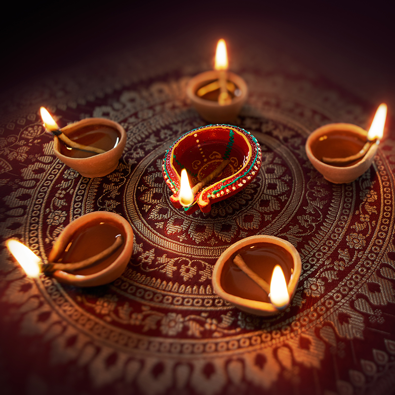 Diya lamps - which are little oil lamps - are lit at Diwali and fireworks light up the skies, for one of the most colourful festivals in the Hindu calendar.