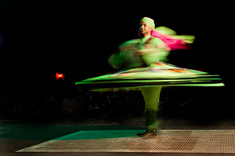 This dancer in Dubai not only wore his skirt well,  but his feet barely seemed to touch the ground as he spun like a spinning top.