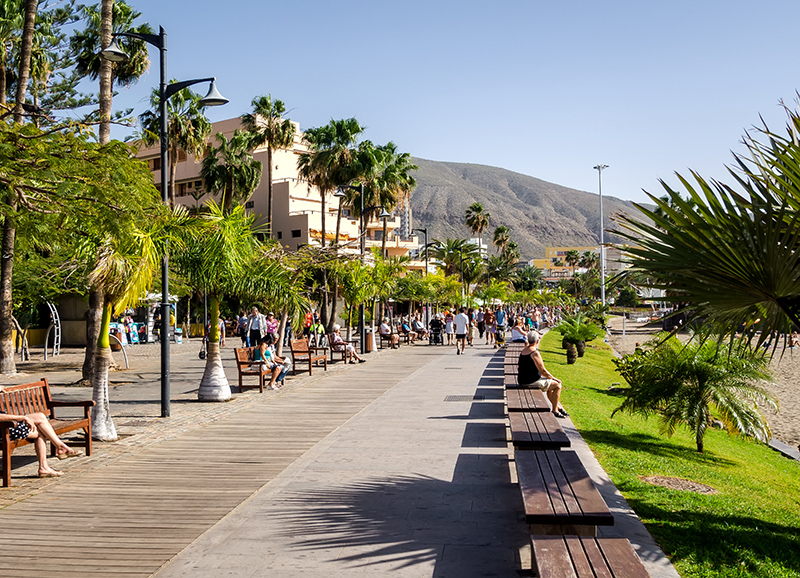The promenade at Los Cristianos is just one of many wonderful places on Tenerife where the non-golfers can happily spend a morning or an afternoon while the golfers take to the greens and the bunkers...