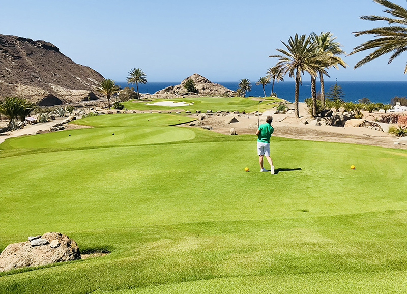 Mark, pictured here playing a round at Anfi Emerald Club (RJ17) on Gran Canaria, only had to step out of his apartment at this resort to tee-off, as this fabulous course with its sensational views is an on-resort guest facility at Anfi.