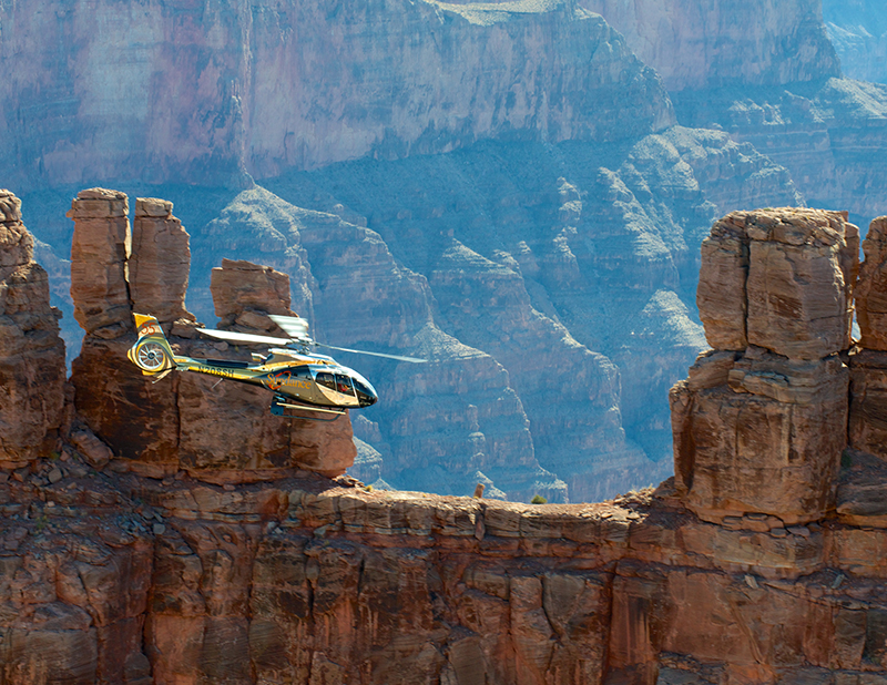 The best way to see over the Grand Canyon is from the air, so book a helicopter ride and enjoy the amazing scenery.