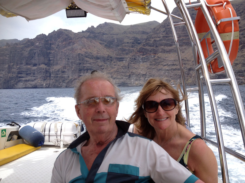 Find fabuous activities and excursions that your older companiion can participate in comfortably. Here's my Dad with my friend, Sue, on a whale watching boat trip off Los Gigantes in Tenerife.