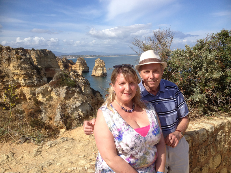 Ponta da Piedade are some amazing rock formations along the coast of the western Algarve. Wearing his sun hat and comfy footwear, as well as taking regular stops at resting points, I was surprised just how far along and down these cliffs my Dad managed to ramble.