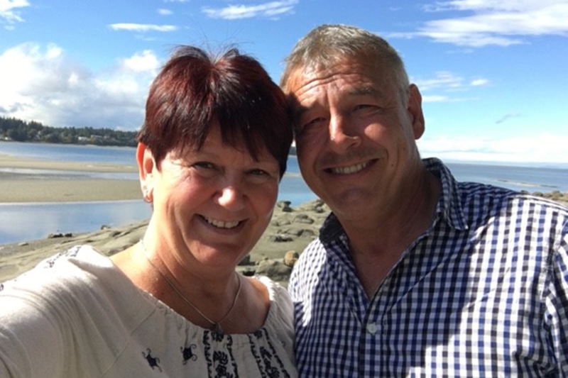 Janine and John taking a selfie at Victoria Harbour on Vancouver Island.