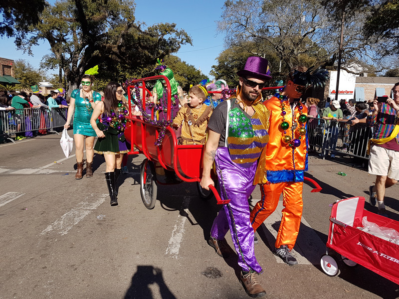 On the Sunday before Mardi Gras, the locals take to the streets to celebrate Joe Cain and it is always a very cheerful parade.