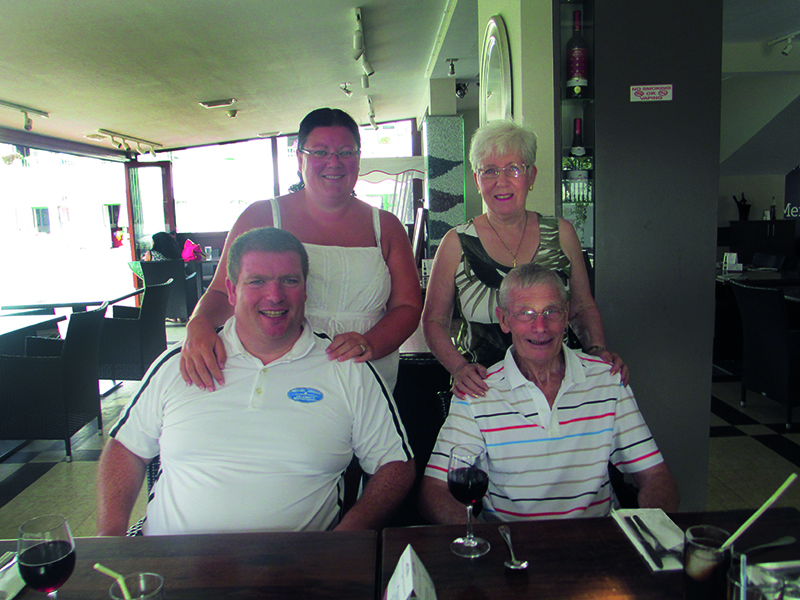 Alice and Patrick with their son, Peter, and his wife Laura on one of their many holidays to the lovely Lanzarote.