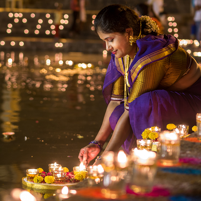 The Festival of Lights is so named because people light oil lamps (diyas) all around their homes.