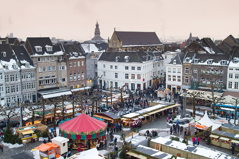Maastricht Christmas Market is held in Vrijthof Square in the heart of the city's old town, overlooked by St Servatius Cathedral and Basilica.