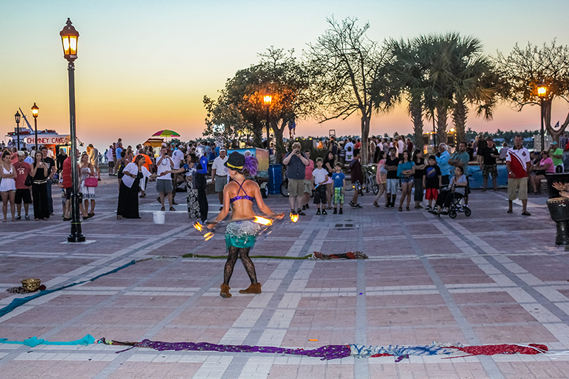Key West comes alive at sun down when Mallory Square fills up with entertainment acts, stalls, artists, musicians, all of whom flock to the square to entertain visitors. It has a real happy, party vibe and it is worth enjoying at least one night out there.