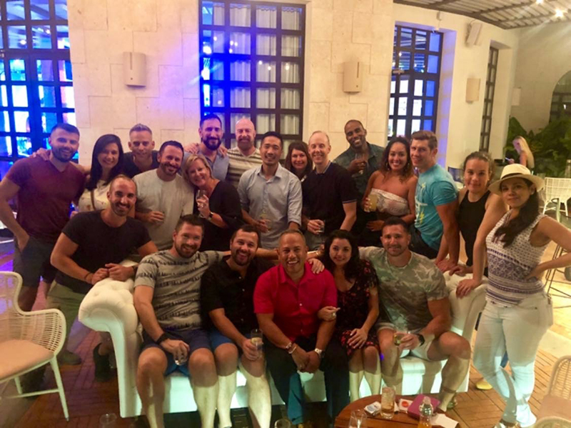 Crystian, pictured centre, with his friends at UNICO Riviera Maya Resort celebrating his 40th birthday in style - everything included!