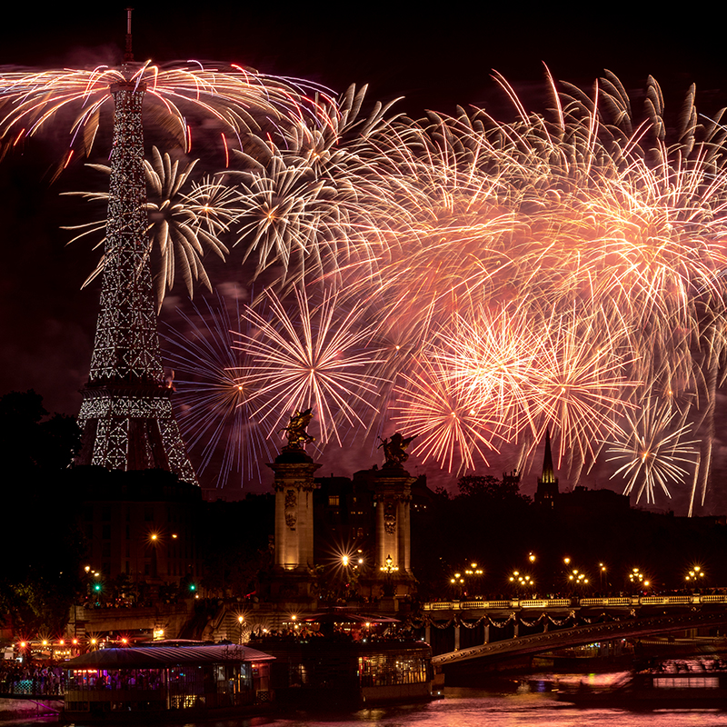 Bastille Day is one of France's biggest events of the year, and there's no better place to be than the capital city. Head to the Eiffel Tower to get a perfect view of the fireworks display.