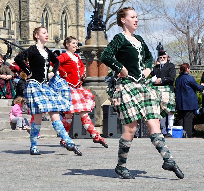 Scottish dancers in bright tartans are a familiar sight on the streets of Scotland's cities over Christmas, as well as Hogmanay - a New Year celebration which rivals Christmas in Scotland.