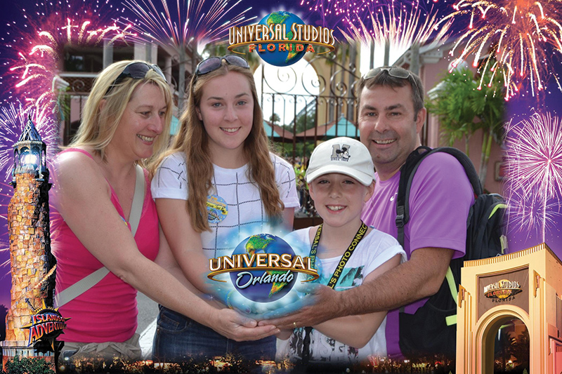 The Stewart family enjoying time together at Universal Studios in Orlando, Florida.