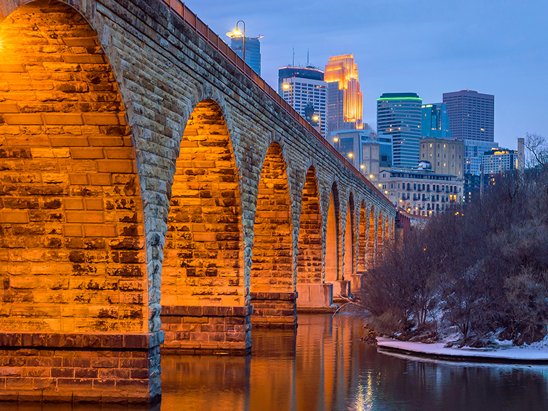 The Stone Arch Bridge was a railroad bridge and is the only stone bridge to cross the Mississippi River and it does that in Minneapolis. Its fascinating beauty belies its industrial origins.