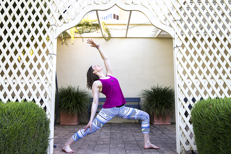 The Sun Warrior, or Parsva Virabhadrasana, comprises a gentle side stretch, as Laura describes this position.