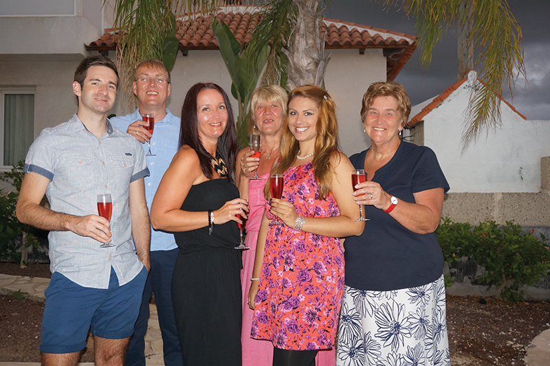 Tracie, third from right, on her first ever family holiday in Tenerife using her RCI membership and her timeshare.