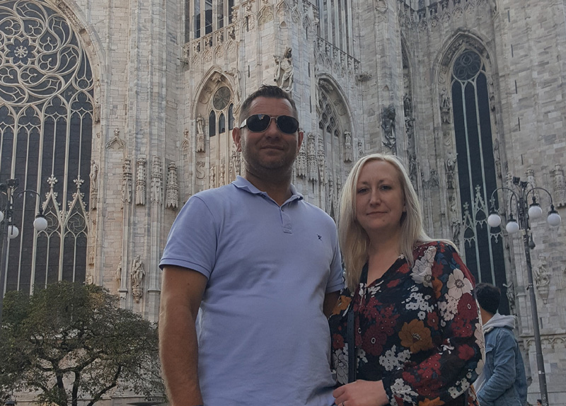 Ellen and her partner outside Milan's Il Duomo, a jewel in the city's crown that greatly impressed Ellen.