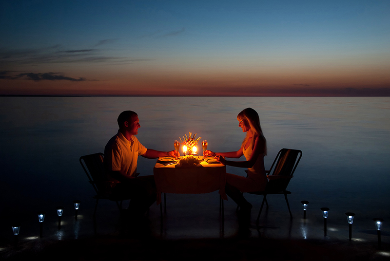 No matter where you are, get off the tourist trail and find a romantic restaurant for two to sample the local dishes over a glass or two of wine.