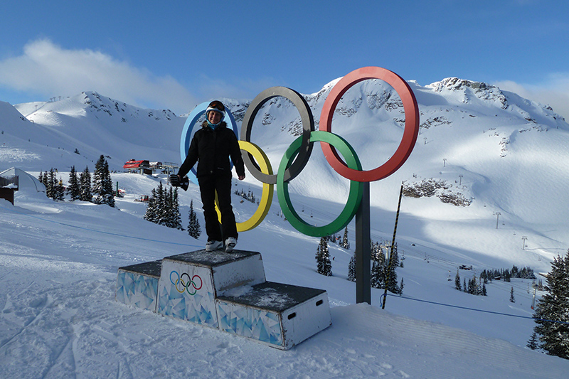 Lynn enjoying the slopes at Whistler and taking in the magnificent views of the slopes.