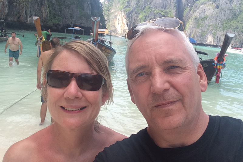 Carmel and Ian visiting Maya Beach on Ko Phi Phi Island, Phuket, the famous filming location for box-office hit movie, 'The Beach'.