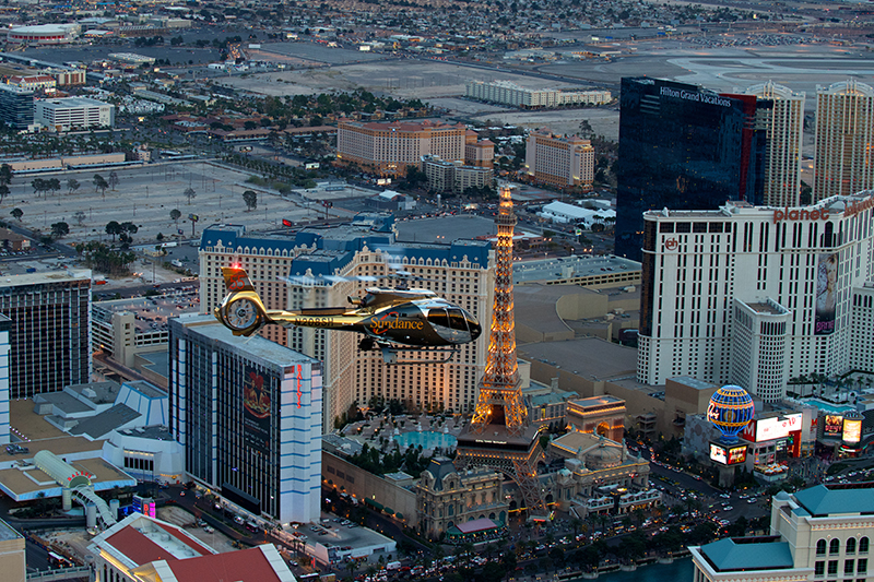 To see The Strip in all its glory, see it from the sky with a flight in a helicopter.
