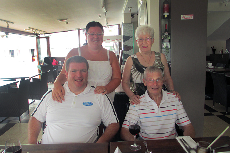 Alice and Patrick with their son, Peter, and his wife Laura, on holiday in Lanzarote, where they all own at Club Las Calas with RCI membership. For Alice and Patrick, there's nowhere else on Earth to beat this Canary Island for great holidays.