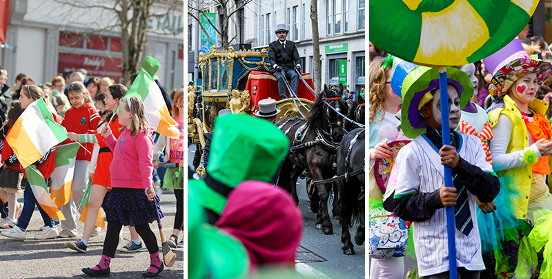 St Patrick Day parades will take place the world over on 17 March, when streets will turn green - the colour of the celebration - as these pictured here with parades in Limerick, Cork and Dublin.