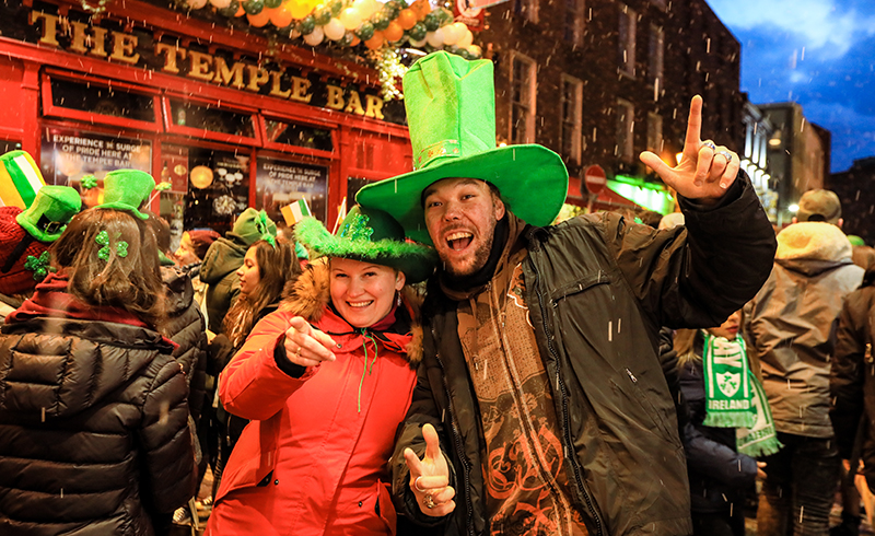 The Temple Bar area of Dublin is party central all year round, and definitely the place to be on St Patrick's Day.