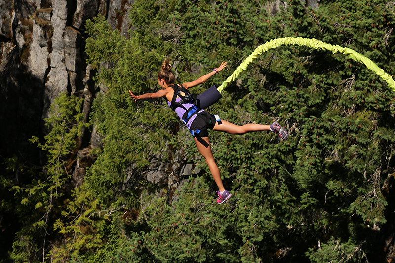 Try bungee jumping from a suspended bridge overlooking the beautiful Cheakamus River - if you dare!