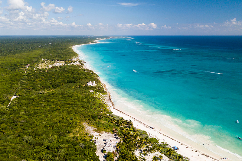 The beaches of Tulum are one not to be missed, with white Caribbean sands alongside the beautiful green swaying palm trees.