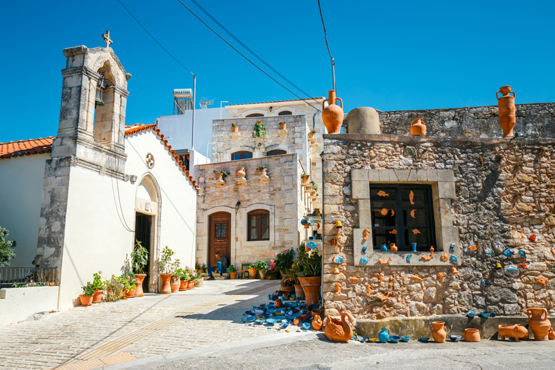 The pretty village of Margarites is well-known for its beautiful pottery. There's plenty of little shops and studios dotted around the village, where you can buy a souvenir or two to take home with you.