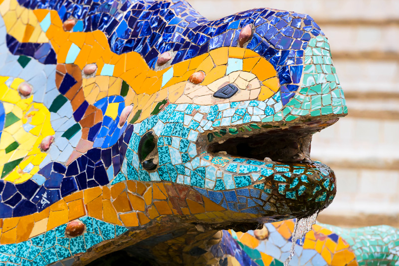 Park Güell is filled with beautiful stone work. One of the highlights is the Gaudí dragon fountain.