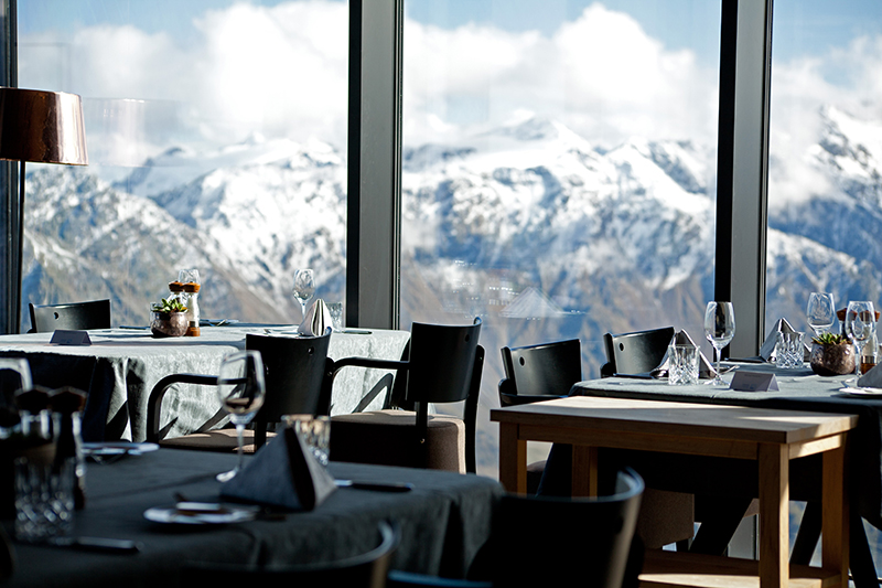 Austria's highest located gourmet restaurant ice Q in Sölden, 3,048 metres above sea level. Surrounded by over 250 superb three-thousand metre mountains, this was the spectacular filming location for the James Bond Spectre film.