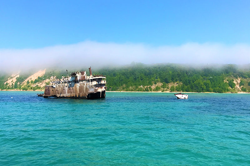 Visit a shipwreck, stranded between North and South Manitou Islands, which are part of the Sleeping Bear Dunes National Lakeshore.