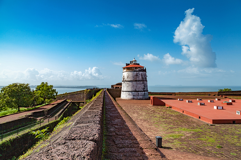 Fort Aguada is a 16th-century Portuguese fortification standing on Sinquerim Beach in Goa which served to remind visitors of India's long history which has been shaped by some unexpected influences. It is also home an ancient lighthouse - the oldest of its kind in Asia.