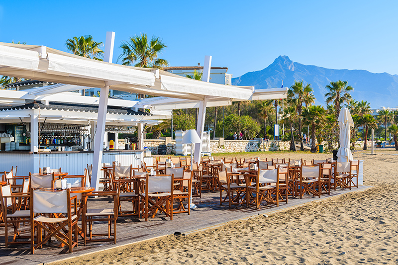 The best way to end your day, and your time in Marbella, is an evening meal at a seafood restaurant, situated on the beach, watching the sun set.