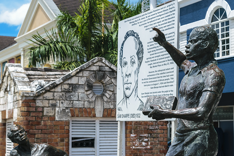 The statue of slave rebellion leader, Sam Sharpe, is a reminder of the island's darker past. His statue was erected, posthumously in 1975, in what is now called Sam Sharpe Square, to mark and honour his bravery.