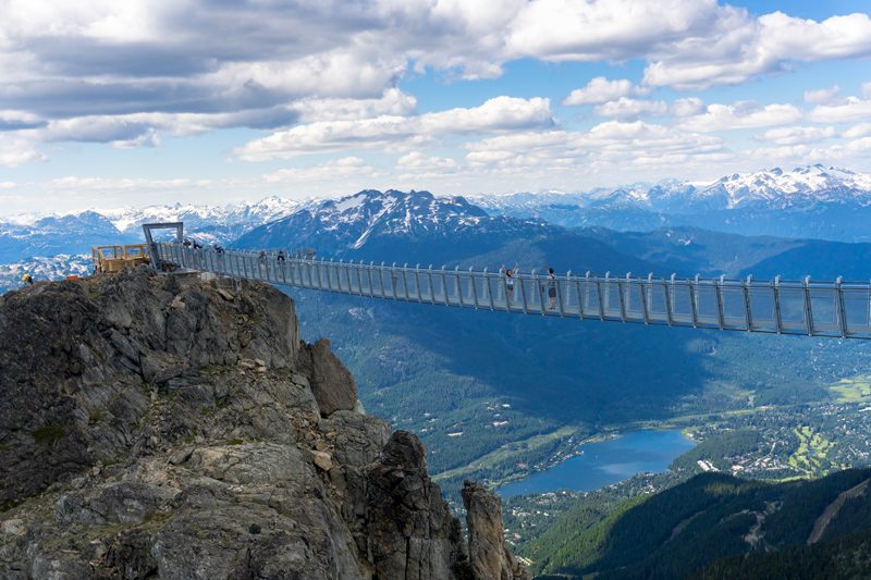 Step out onto the Cloudraker Skybridge to hover above the Whistler Bowl, affording a real bird's-eye view of the skiers and snowboarders below. The bridge is open all year round, although it is only accessible by skiers and snowboarders in the winter months.