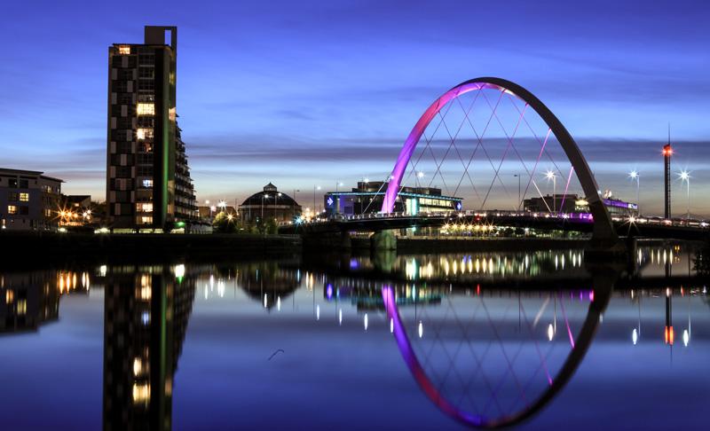 A modern bridge in Glasgow.
